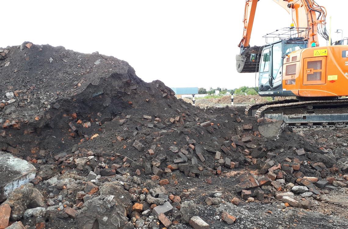 Asbestos contaminated ground